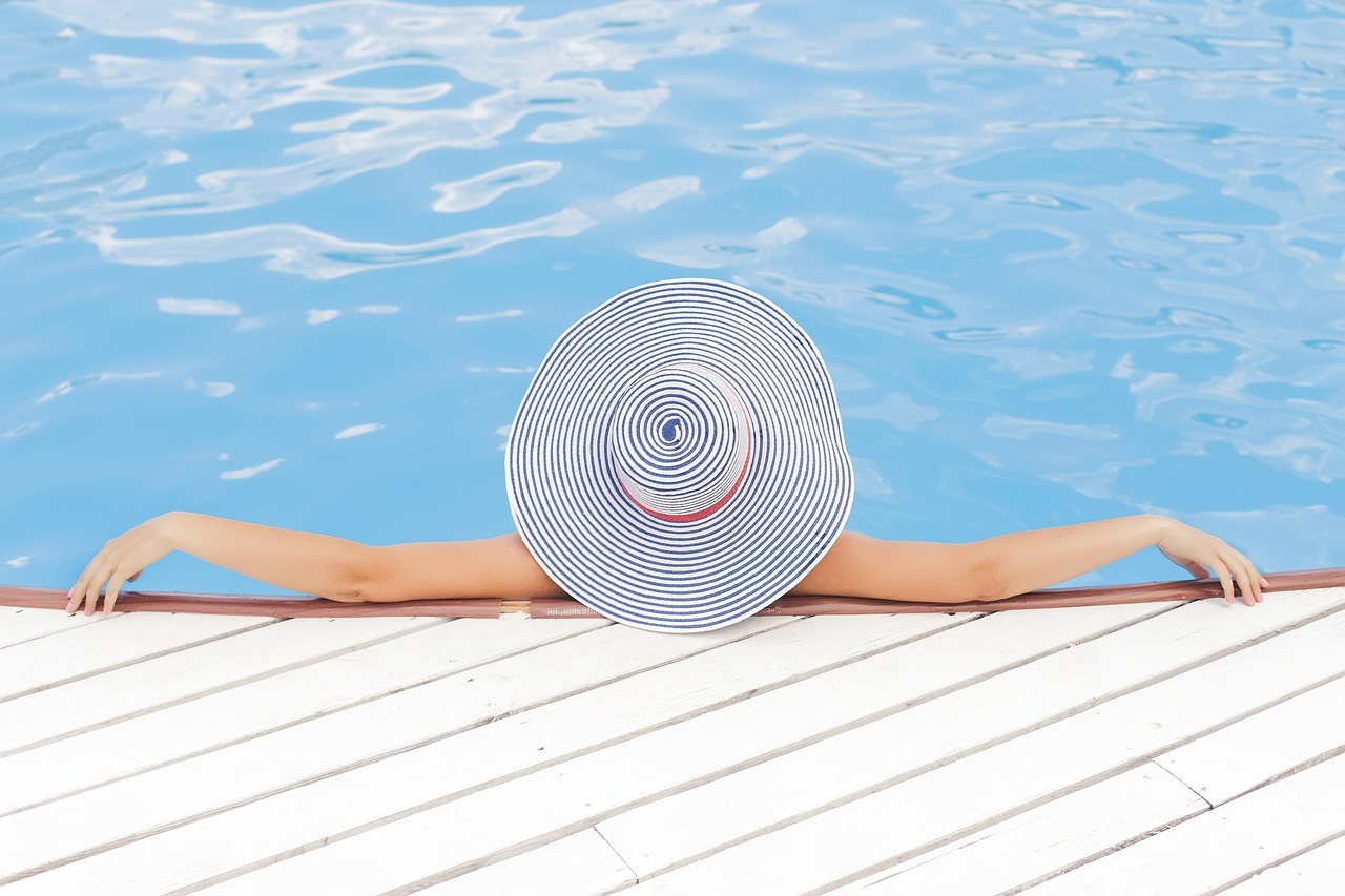 Woman relaxing at pool