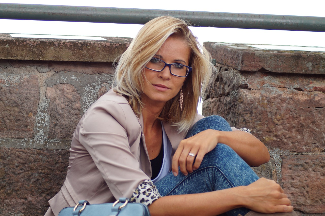 Mature woman with glasses