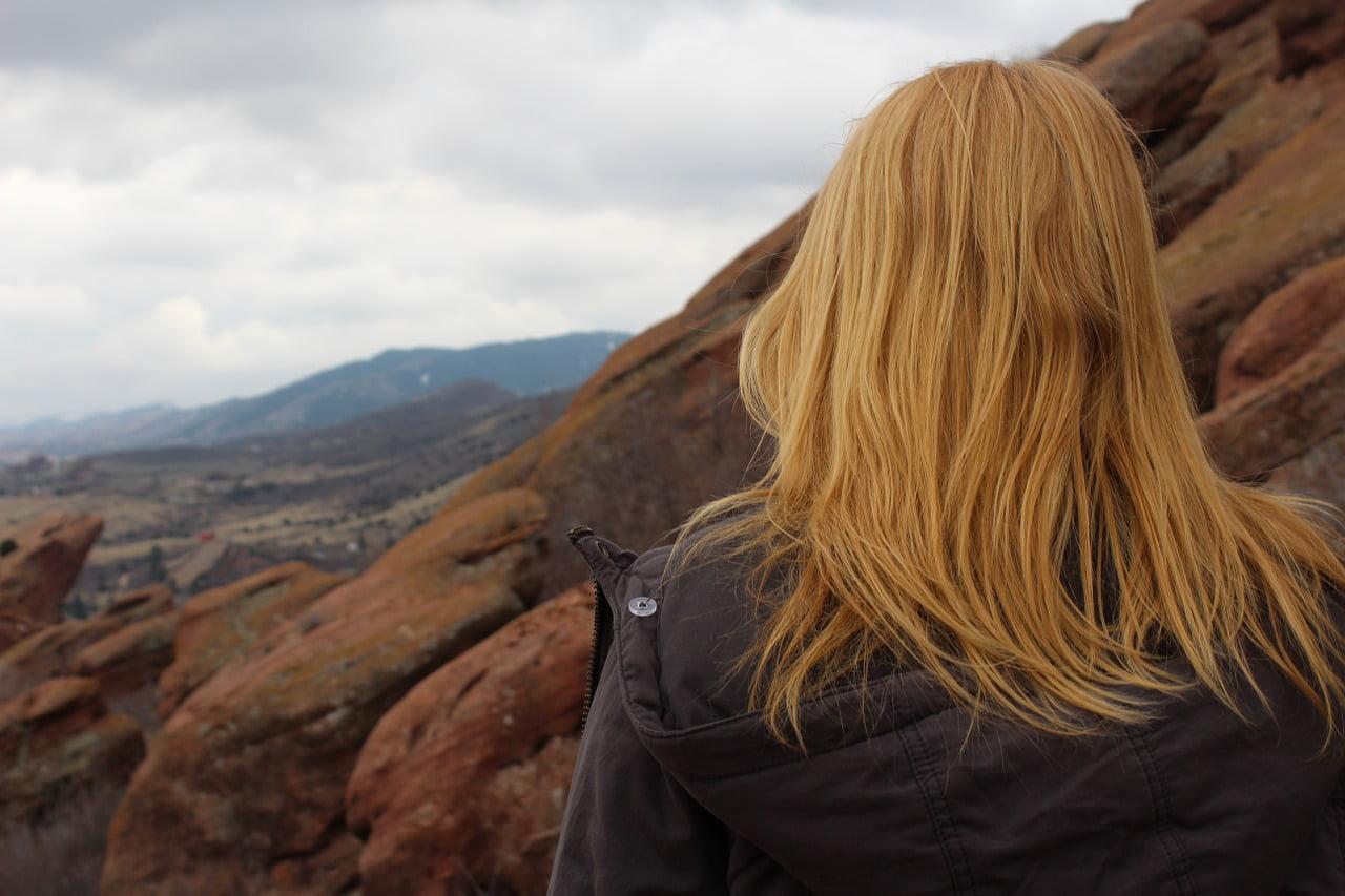 woman redhead hiking
