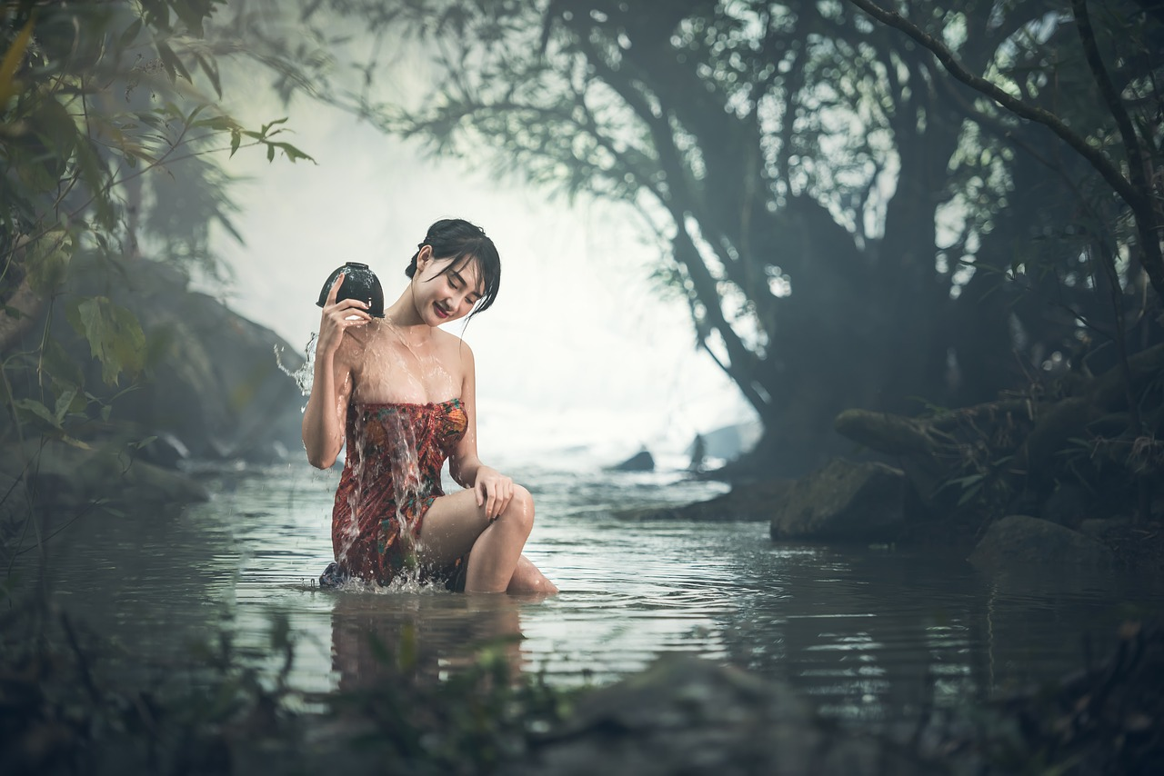 woman in pond beauty hair