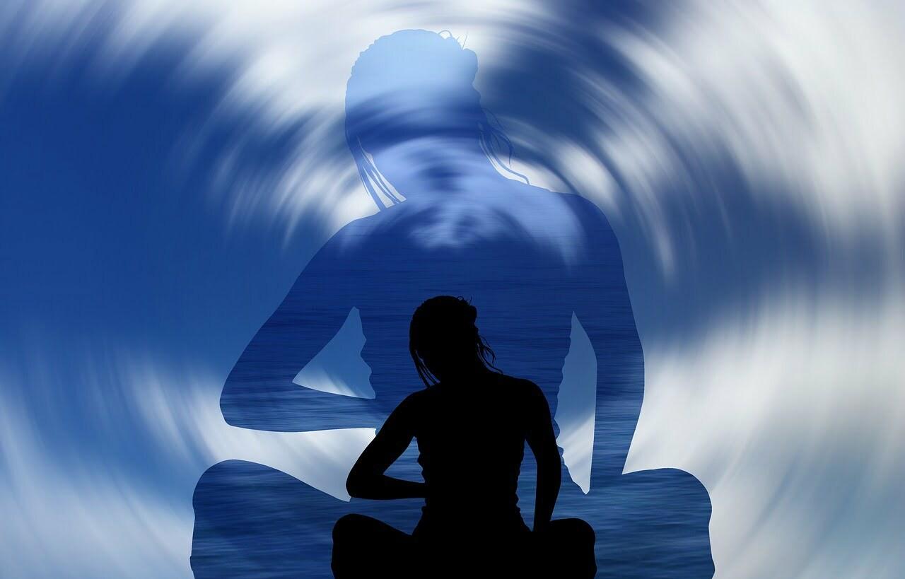woman sitting shadow blue