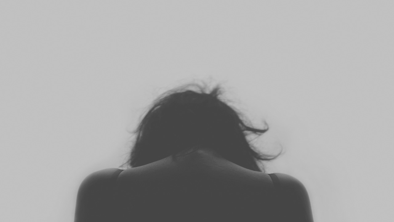 woman sad back of head