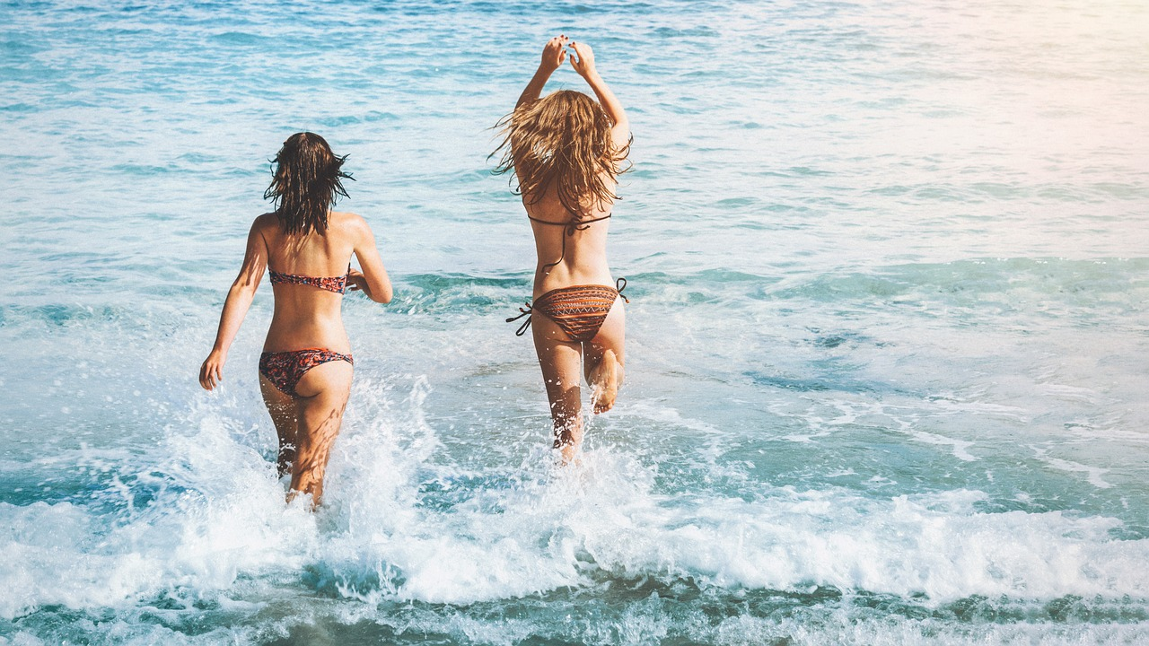two women in ocean bikinis