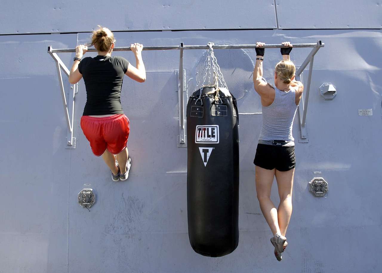 two women pull-up exercise