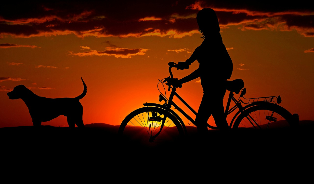 woman with bike at dusk