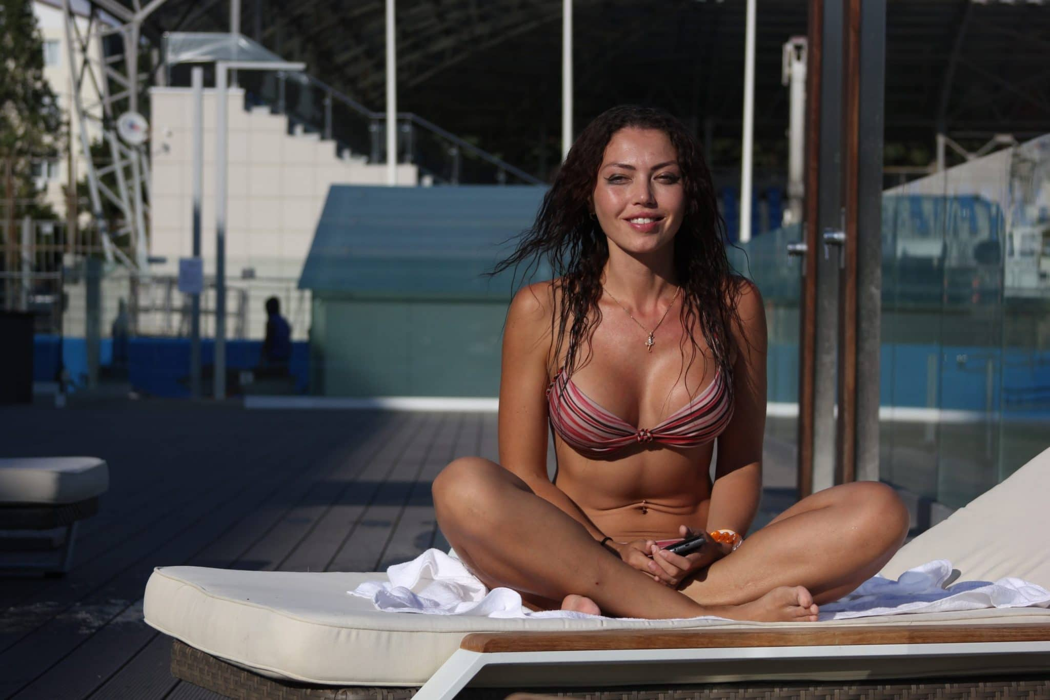 Beauty in Bikini with great cleavage breast enhancement