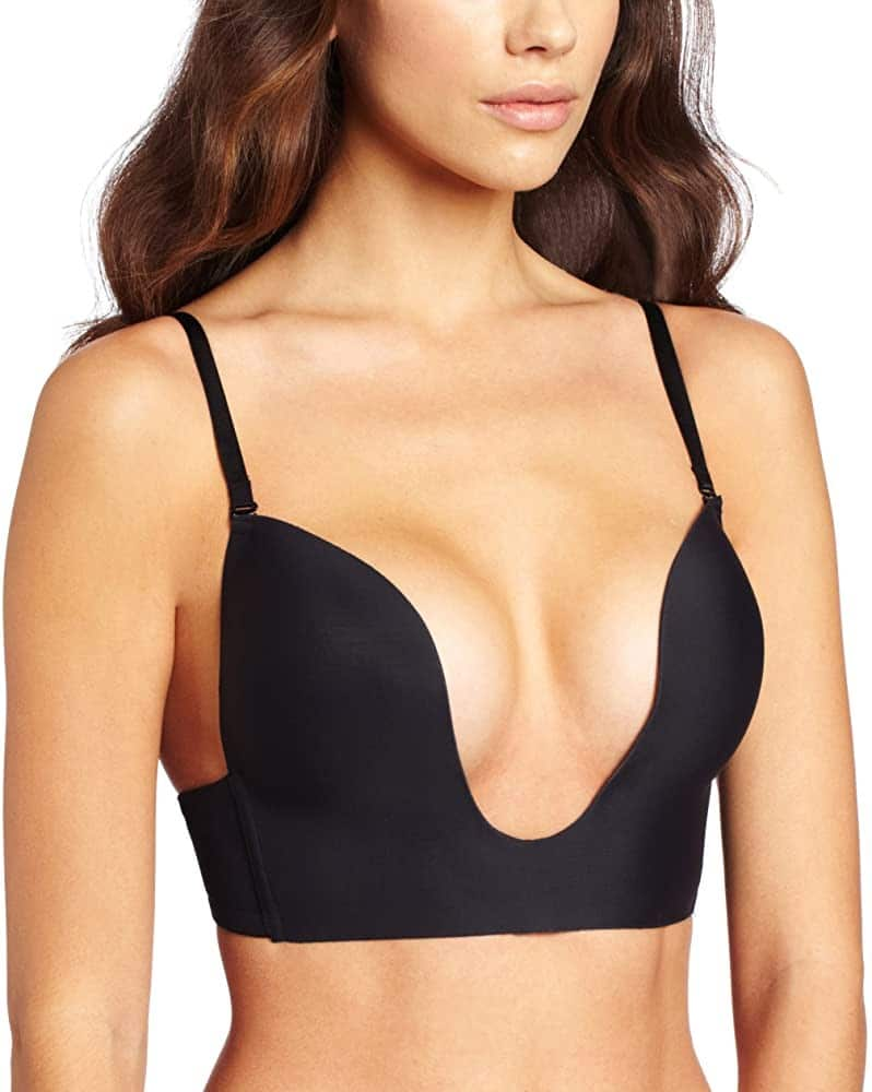 A picture of a woman wearing a black plunge bra